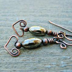 Silver Belly Bear Hug Heart dangles wire wrapped antiqued copper earrings