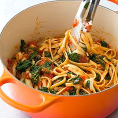 Pasta with Spinach and Tomatoes Recipe - Cook's Country Made this for dinner 7/11/13 and it was tasty! Easy and quick to put together without any weird ingredients.