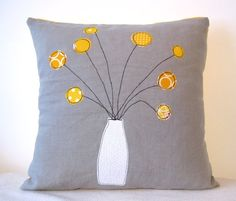 Throw pillow with apllique