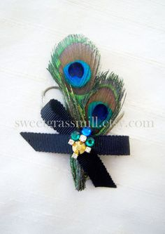 Peacock Brooch Pin  PEACOCK BIJOU  Feathers by sweetgrassmill, $24.00