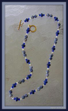 "19"" beaded necklace. Lapis lazulis, Swarovski crystals, turquoise & gold glass bead"