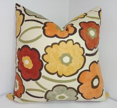 Decorative Pillow Richloom Pia Large Floral Print Brown Grey Orange Yellow Pillow Cover by HomeLiving on Etsy https://www.etsy.com/listing/172823521/decorative-pillow-richloom-pia-large