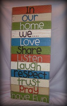 Handpainted Family Wall Hanging Upcycled Pallet Wood by UniqueByU, $75.00