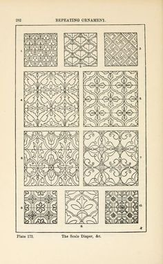 A handbook of ornament; repeating ornament the scale diaper pg 282 Zentangle Patterns, Embroidery Patterns, Zentangles, Pattern Art, Print Patterns, Grabar Metal, Persian Motifs, Textile Prints, Islamic Art