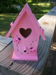 Hand Painted Pink and Black Lady Bug Birdhouse. Rachel love this one, spring in mind already!
