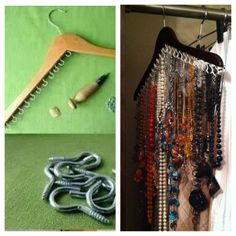 Finally got to this little project.I discovered necklaces I totally forgot about! Hanger Crafts, Storage Organization, Clever, Necklaces, Projects, Handmade, Log Projects, Blue Prints, Hand Made