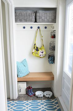 Perfect solution for our entry!!! Need to build a bench and find some additional shoe storage. Remove the closet door. small entry way closet turned into cute little mudroom; love the bench! | IHeart Organizing