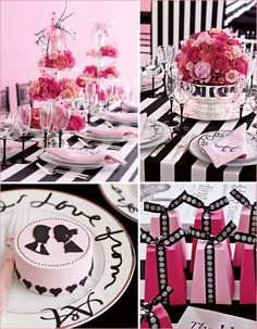 I like this except for the black and white stripe tablecloth...that's a little much. But, the tower of hot & light pink flowers is freaking cute.