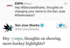 Yay, we might finally have someone with a sense of humor on the sharks' twitter.