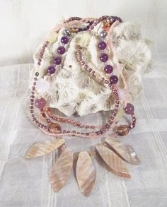 Abalone necklace amethyst necklace pearl by TashinkaBeadingHeart