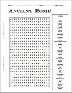 grade word search puzzles educational language arts - 28 images - math puzzle worksheets grade grade us history, grade math word search pdf middle school math word, photosynthesis word search, earth science word search puzzle student handou World History Teaching, Ancient World History, World History Lessons, 7th Grade Social Studies, Teaching Social Studies, Rome Activities, 6th Grade Worksheets, Word Search Puzzles, Roman History