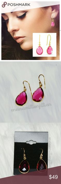"6ct Raspberry Quartz Teardrop Earrings New/Carded  These earrings are crafted in 18k gold overlay & contain faceted pear shape synthetic raspberry pink quartz gemstones for a total weight of 12 carats! The french hooks give them an approx 1/2"" drop. Gorgeous & perfect for any occasion.  Check my page for more items to bundle with! #oneinamillionjillian Jewelry Earrings"