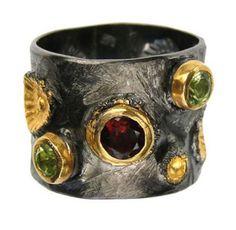 Artisan band ring Black rhodium silver ring peridot garnet gemstones Wide band ring