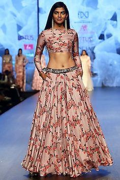Lilac Printed Lehenga Skirt With Crop Top & Embroidered Belt Design by Ashwini Reddy at Pernia's Pop Up Shop. For order whatsapp us on wedding outfits wedding dress wedding dresses lengha lehnga sabyasachi manish malhotra Indian Crop Tops, Ghagra Choli, Indowestern Lehenga, Sharara, Lehenga Skirt, Anarkali, Indian Ethnic Wear, Red Indian, Indian Style