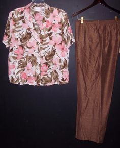 Alfred Dunner womens pants shirt outfit-Size 18-Pink & Brown big floral…