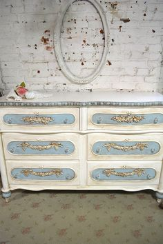 Painted Cottage Chic Shabby Romantic French Dresser [LGDR34] - $1,049.00 : The Painted Cottage, Vintage Painted Furniture