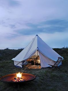 Nice bell tent with a fire pit