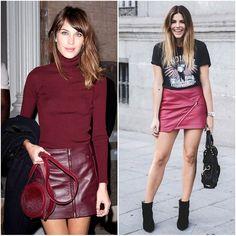 Saia de Couro Colorida Tendência Inverno #saia #couro #moda #fashion #look #vinho