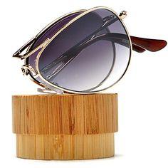 Folding Pocket Metal Aviator Sunglasses Case and Microfiber Bag Included (Gold/Gradient)