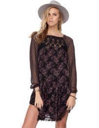Look at this Black Crochet Three-Quarter Sleeve Top - Women Bohemian Style, Boho Chic, Free People Dress, Crochet Top, Cold Shoulder Dress, Chiffon, Quarter Sleeve, Lace, Dresses