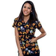 tooniforms womens mock wrap cartoon scrubs print scrub top by cherokee allh - Halloween Scrubs Uniforms