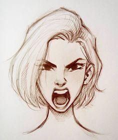 Hair Short Girl Drawing Illustration 63 Ideas For 2019 Portrait Au Crayon, Pencil Portrait, Art Drawings Sketches, Cool Drawings, Drawing Faces, Drawing Art, Sketch Drawing, Drawing Ideas, Girl Face Drawing