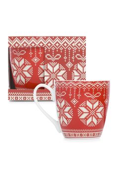 Primark - Mug rouge à motif jacquard de Noël