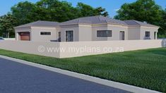 3 Bedroom House Plan - My Building Plans South Africa Round House Plans, Family House Plans, Village House Design, Village Houses, Single Storey House Plans, House Plans South Africa, Contemporary House Plans, Bedroom House Plans, Open Plan Living