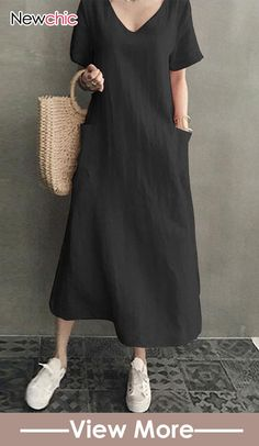 Vintage Short Sleeve V Neck Pockets Dress & Dress Outfits for Tunic Dress Patterns, Linen Dress Pattern, Simple Long Dress, Simple Dresses, Loose Dresses, Simple Tunic, Diy Dress, Dress Outfits, Fashion Dresses