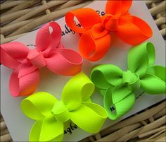 Girls Basic Hair Bow Set of Four  Neon Summer