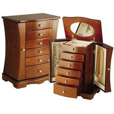 Seya Contemporary Walnut Jewelry Box