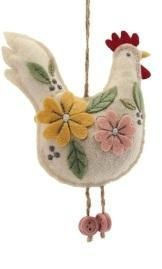 Gisela Graham Felt Embroidered Hanging Chicken Decorations: Cream
