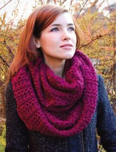 Elegant free knitting patterns like this one are great for kicking off the start of autumn.  Wear your cozy Stockholm Scarf wrapped twice around your neck for instant glamor.  Made with circular knitting needles, you can create this extra long cowl by seaming two long strips together - making this project even more on-the-go friendly.
