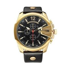 (100% Authentic) CURREN 8176 Men Casual Calendar Three Eyes Round Dial Leather Quartz Watch - Gold and Black (Japan Movement 7T35)