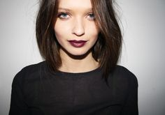 MAC cyber lipstick- love the plum color for Fall/Winter, simple hair, & warm hues of eyeshadow.