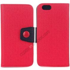 Hit Contrast Color Leather Stand Case for iPhone 6 4.7 with Credit Card Slots - Red/Black US$8.99