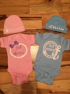 Just Arrived Birth Announcement Pearls and Anchors onesie sets made by TaylorMadeCreations. Follow us on etsy- TaylrMadeCreation and on Instagram taylormadecreations15, we also have Facebook: TaylorMadecreations Sarah Taylor .. check out our awesome deals and giveaways !!   https://www.etsy.com/shop/TaylrMadeCreation?ref=hdr_shop_menu