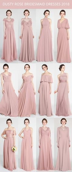 Bridesmaid Gowns trending dusty rose bridesmaid dresses for 2018 Dusty Rose Bridesmaid Dresses, Wedding Bridesmaids, Dusty Rose Dress, Bridesmaid Color, Bridesmaid Hair, Rustic Wedding Dresses, Trendy Wedding, Dress Wedding, Wedding Rustic