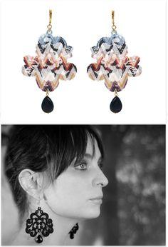 Tita Bijoux - Lace Earrings 'Frissian Missoni' Lace Earrings, Crochet Earrings, Drop Earrings, You Look Pretty, Missoni, Tulle, Jewelry Making, Jewellery, Accessories