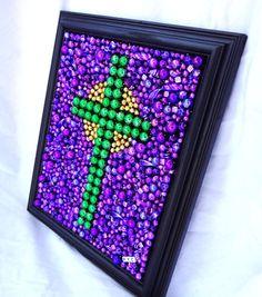 Custom order Framed Mardi Gras bead mosaic cross by BayoulandBeads