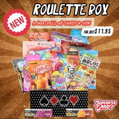 Try your luck with our Roulette Box, where everyone is a winner! We randomly select Japanese and Asian snacks to deliver a box full of the best selection of candy and gum. Every box will contain a dif