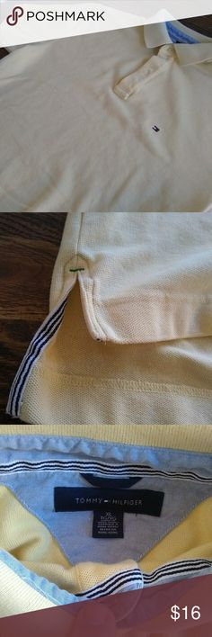 Yellow Classic Tommy Hilfiger Men's Polo Shirt Classic yellow Tommy Hilfiger short sleeve men's polo shirt size XL. Used but in like new condition period colors hard to see but it is a bright yellow, refer to picture of collar and tag size for reference. Make me an offer! Tommy Hilfiger Shirts Polos