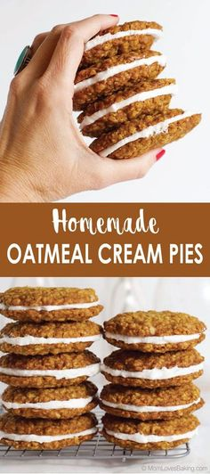 Copycat Little Debbie oatmeal cream pies! They're SO good! Better than the original! Find the recipe on MomLovesBaking.com. #littledebbie #oatmealcreampies #copycat #recipe No Bake Desserts, Dessert Recipes, Baking Recipes, Kitchen Recipes, Pie Recipes, Easy Desserts, Easy Dinner Recipes, Breakfast Recipes, Easy Meals
