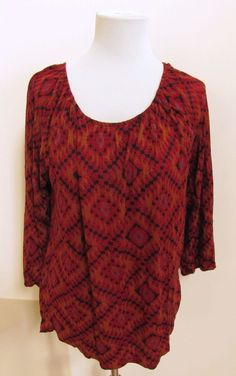 Lucky Brand Top Large Peasant Tunic Red Rust Tribal Print scoop Keyhole Back #LuckyBrand #peasant #Casual