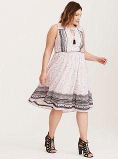 Plus Size Geo Print Embroidered Chiffon Midi Dress, SHIFTING JESSICA