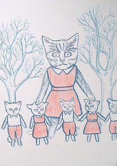 Momma and her kittens.....aleksandra waliszewska