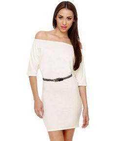 Off Shoulder Ivory Dress