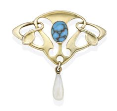 Art Nouveau Turquoise And Pearl Brooch