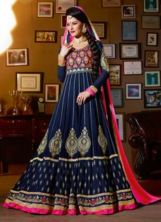 Elegant Blue Georgette Floor Length Anarkali