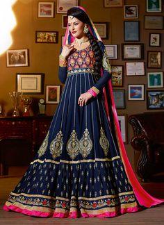 Elegant Blue Georgette Floor Length Anarkali